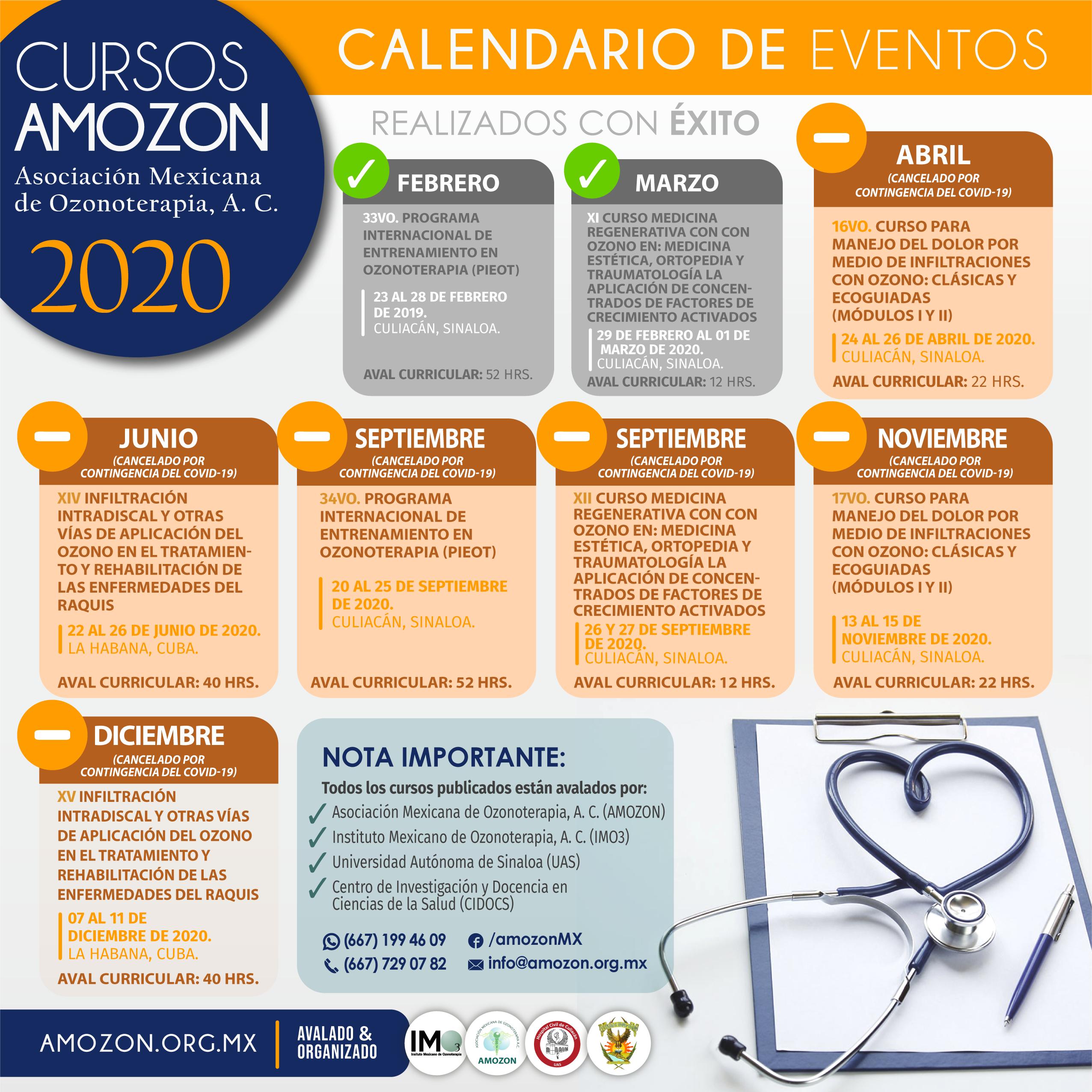 CALENDARIO CURSOS AMOZON 2020